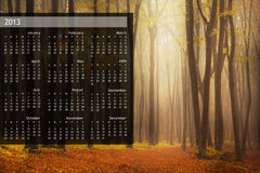 2013 Calendar on single page. 2013 calendar with nature image on a single page Stock Illustration