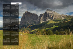 2013 Calendar on single page. 2013 calendar with nature image on a single page Royalty Free Stock Images