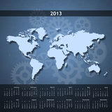 2013 Calendar on single page. 2013 business calendar with the map of the world and a blueish background Royalty Free Stock Images