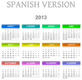 2013 calendar spanish version Royalty Free Stock Photography