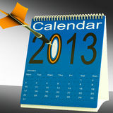 2013 Calendar Target Shows Year Organizer. 2013 Calendar Target Showing Year Projection Plan stock illustration