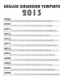 2013 Calendar Template Royalty Free Stock Photo