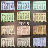 2013 Calendar on vintage pieces of paper Royalty Free Stock Images