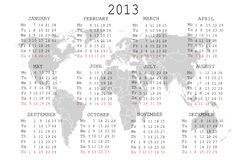 2013 Calendar with world map. Over white background stock illustration
