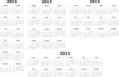 2013 Calendars. Different types of calendar arrangement on a white background. To be used be designers An .EPS version is available too vector illustration