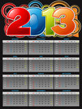 2013 Calender. Accurate 2013 calendar could be modified and resize Royalty Free Stock Photo