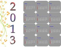 2013 calender. Decorative 2013 calender, well for your design Stock Photography