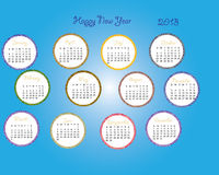 2013 calender with blue backdrop. Months, days, date, circles Stock Photography