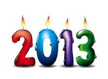 2013 candles. Different colour lighted candles of 2013 new Year Royalty Free Stock Images