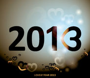 2013 card. Happy new year card with number three like heart Stock Illustration