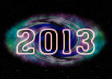 2013 card. Happy new year 2013 card with universe theme Stock Photography