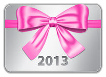 2013 card with pink bow. 2013 gift card with nice pink bow. Ribbon. Vector illustration Stock Photography