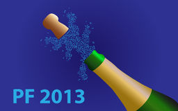 2013 Champagne bottle. Happy new year vector illustration