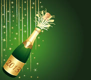 2013 Champagne bottle. Green and gold greeting car Stock Image