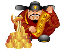 2013 Chinese Money God Snake Scroll Prosperity. 2013 Chinese Prosperity Money God Holding Scroll with Text Wishing Happiness and Wealth with Snake and Gold Bars Royalty Free Illustration