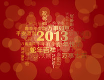 2013 Chinese New Year Greetings Background. 2013 Chinese Lunar New Year Greetings Text Wishing Health Good Fortune Prosperity Happiness in the Year of the Snake Royalty Free Stock Photography