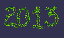 2013 Christmas. Card written foliage vector illustration