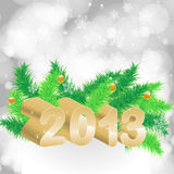 2013 christmas background. With baubles. chrismas tree EPS10 stock illustration