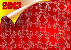 2013 Christmas background. 2013 chritmas background. scroll pattern and silk Royalty Free Stock Image