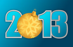 2013 christmas ornament. Background design over blue Stock Illustration
