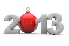 2013 with christmas tree ball. Year 2013 in 3D letters with red christmas tree ball as Zero Stock Illustration