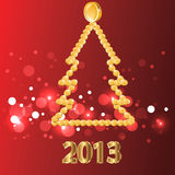 2013.Christmas tree of gold coins. 2013.Golden New year  background.Red  illustration Stock Images