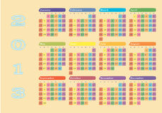 2013 colorful wall calendar. New year 2013 colorful wall calendar Royalty Free Stock Photography