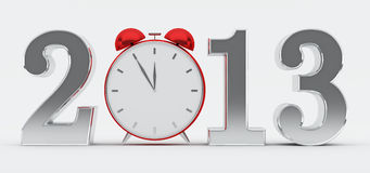 2013 concept with red clock. Silver 2013 text with red clock, new year concept Royalty Free Stock Photos