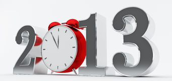 2013 concept with red clock. Silver 2013 text with red clock, new year concept Stock Photo
