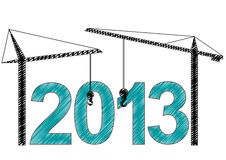 2013 cranes. Illustration of 2013 text witn two cranes stock illustration