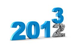 2013 crash 2012. New 2013 year crash old 2012. Isolated in white background and 3d generated image Stock Photography