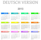 2013 crayons calendar deutsch version. Colorful monday to sunday 2013 calendar with crayons deutsch version illustration stock illustration