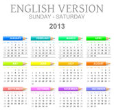 2013 crayons calendar english version sun - sat. Colorful sunday to saturday 2013 calendar with crayons english version illustration stock illustration