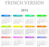 2013 crayons calendar french version. Colorful monday to sunday 2013 calendar with crayons french version illustration Royalty Free Stock Photos