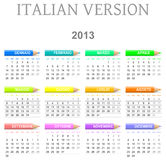 2013 crayons calendar italian version. Colorful monday to sunday 2013 calendar with crayons italian version illustration Stock Photos