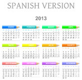 2013 crayons calendar spanish version. Colorful monday to sunday 2013 calendar with crayons spanish version illustration Stock Illustration