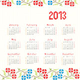 2013 cross stitch ethnic calendar Royalty Free Stock Photos