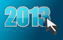 2013 and cursor. Illustration design over a blue gradient background Royalty Free Stock Images