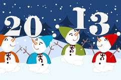 2013 - dancing snowman. 2013 happy new year - dancing snowman Royalty Free Stock Photography