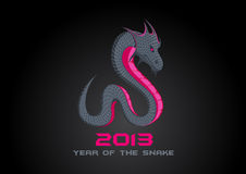 2013 Dark Snake. Happy New Year card template. Vector. Editable Stock Images