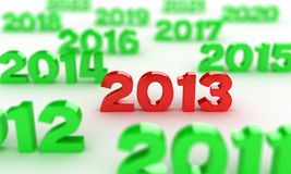 2013 date. Illustration of red numbers 2013 among other dates vector illustration