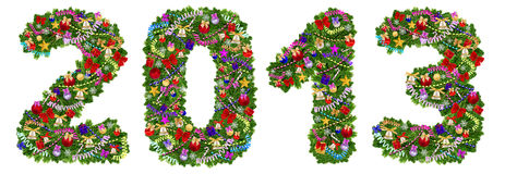 2013. De decoratie van de kerstboom Royalty-vrije Stock Afbeelding