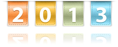 2013 digits on colorful leather background insets Royalty Free Stock Photo