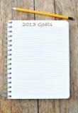 2013 doelstellingen Stock Foto