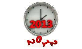 2013 in een klok in 3d Stock Afbeelding