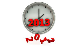 2013 in einer Borduhr in 3d Stockbild