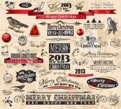 2013 elementen van het typographontwerp van Kerstmis de Uitstekende Royalty-vrije Stock Fotografie