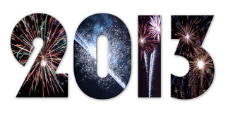 2013 fireworks. Festive 2013 with fireworks, isolated. Illustration vector illustration