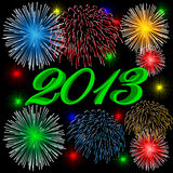 2013 fireworks green. 2013 fireworks background calendar celebration Stock Photo