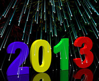 2013 With Fireworks Representing Year. 2013 With Fireworks Represents Year Two Thousand And Thirteen Stock Images